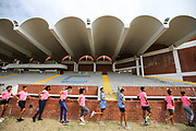 Mar 10, 2018; Cape town, South Africa; athletes doing drills holding on to the wall inside the UWC Stadium during the TrackGirlz events at University of Western Cape on March 10, 2018 in Cape Town, South Africa. (Roger Sedres/Image of Sport)