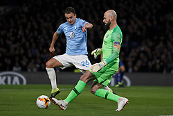 February 21, 2019 - London, Greater London, United Kingdom - Goalkeeper Willy Caballero and Andreas Vindheim during UEFA Europa League Round of 32 2nd Leg between Chelsea and Malmo FF at Stamford Bridge stadium, London, England on 21 Feb 2019. (Credit Image: © Action Foto Sport/NurPhoto via ZUMA Press)