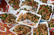 Laos, Luang Prabang Province. The market at Phou Khoun. Crispy fried worms.