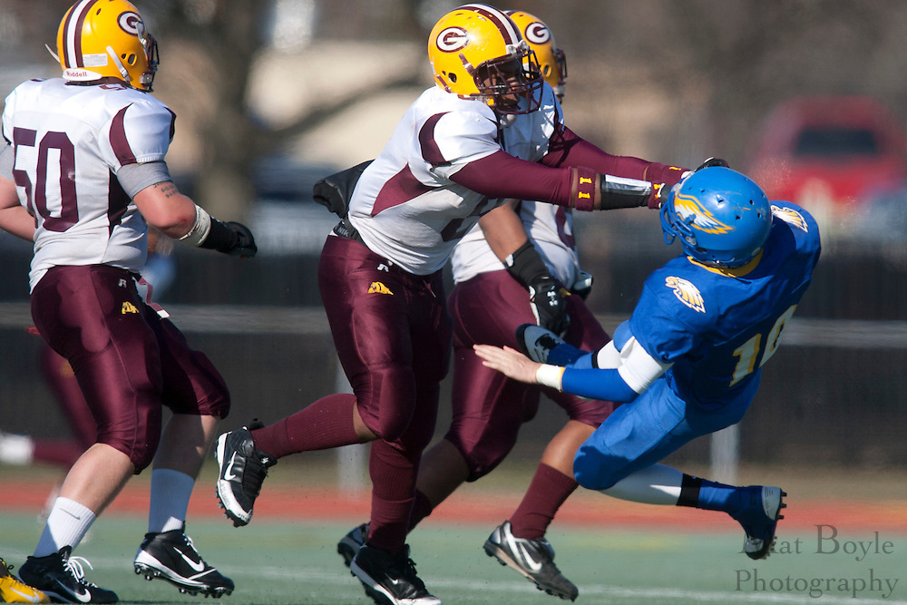 Glassboro High School's Quinton Rothmiller (9); Pennsville Memorial High School's Dylan Cummings (10)..NJSIAA South Jersey Group 1 Title match between Pennsville High School and Glassboro High School held at Coach Richard Wacker Stadium on the campus of Rowan University in Glassboro, NJ on Saturday, December 3, 2011. (photo: Mat Boyle)