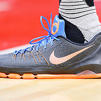21 December 2015: Close view of Oklahoma City Thunder forward Kevin Durant (35) Nike shoes during the Oklahoma City Thunder 100-99 victory over the Los Angeles Clippers, at the Staples Center, Los Angeles, California, USA.