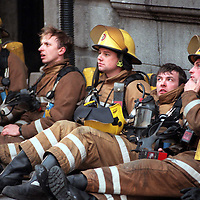 Shattered firefighters take a breather after tackling a massive fire at store on Union Street in Aberdeen.<br />