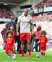 LIVERPOOL, ENGLAND - Sunday, May 11, 2014: Liverpool's Glen Johnson with his three children after the Premiership match at Anfield. (Pic by David Rawcliffe/Propaganda)