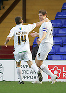 Stockport - Saturday October 31st 2009: Grant Holt of Norwich City celebrates scoring the first goal against Stockport County during the Coca Cola League One match at Edgeley Park, Stockport. (Pic by Michael SedgwickFocus Images)