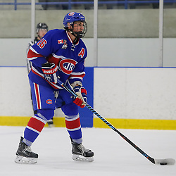 TORONTO, ON - NOV 27,  2016: Ontario Junior Hockey League game between Toronto Patriots and Toronto Jr. Canadiens, Gianfranco Cassaro #16 of the Toronto Jr. Canadiens, with the puck, during the first period.<br /> (Photo by Anna Matthews / OJHL Images)