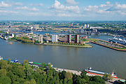 Rotterdam, Netherlands - June 02, 2013: Aerial view to the city and port of Rotterdam, Netherlands.
