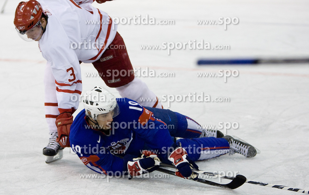Sanin Karvinen of Denmark vs Ziga Pance of Slovenia at ice-hockey friendly match between National teams of Slovenia and Denmark, on April 14, 2010, in Tivoli hall, Ljubljana, Slovenia.  (Photo by Vid Ponikvar / Sportida)