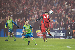 December 9, 2017 - Toronto, Ontario, Canada - Toronto FC midfielder JONATHAN OSORIO (21) heads the ball away from gaol while Seattle Sounders defender GUSTAV SVENSSON (4) looks on during the MLS Cup championship match at BMO Field in Toronto, Canada.  Toronto FC defeats Seattle Sounders 2 to 0. (Credit Image: © Mark Smith via ZUMA Wire)