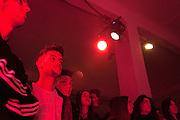 alessandro Patacchini (center), football player at Inter, attends with his friends the event organized to launch a new model of sneaker by Adidas - EQT - at Over Studio in Milan, Italy, on January 25, 2017. Music by The Perseverance Ghali Raye, turbo red light installation by Quiet Ensemble. &copy; Carlo Cerchioli<br /> <br /> ALessandro Patacchini, giocatore dell'Inter, partecipa con i suoi amici all'evento organizzato per il lancio di un nuovo modello di sneaker di Adidas - EQT - al Over Studio a Milano, 25 gennaio 2017. Musiche di The Perseverance Ghali Raye, installazione turbo red light di Quiet Ensemble.