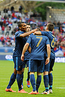 FOOTBALL - FRIENDLY GAME 2012 - FRANCE v SERBIA - REIMS (FRANCE) - 31/05/2012 - PHOTO JEAN MARIE HERVIO / REGAMEDIA / DPPI - JOY FRANCK RIBERY (FRA) AFTER HIS GOAL WITH FLORENT MALOUDA / YOHAN CABAYE