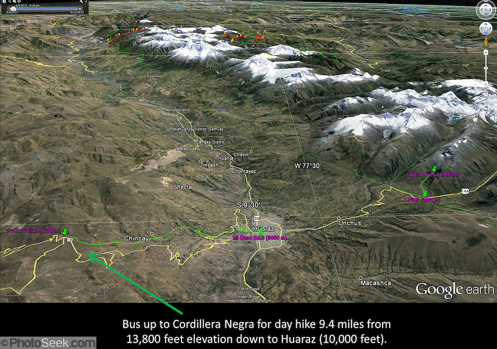 Peru map covering hikes from Huaraz to Punta Callan in the Cordillera Negra and to Laguna Churup in the Cordillera Blanca, South America.