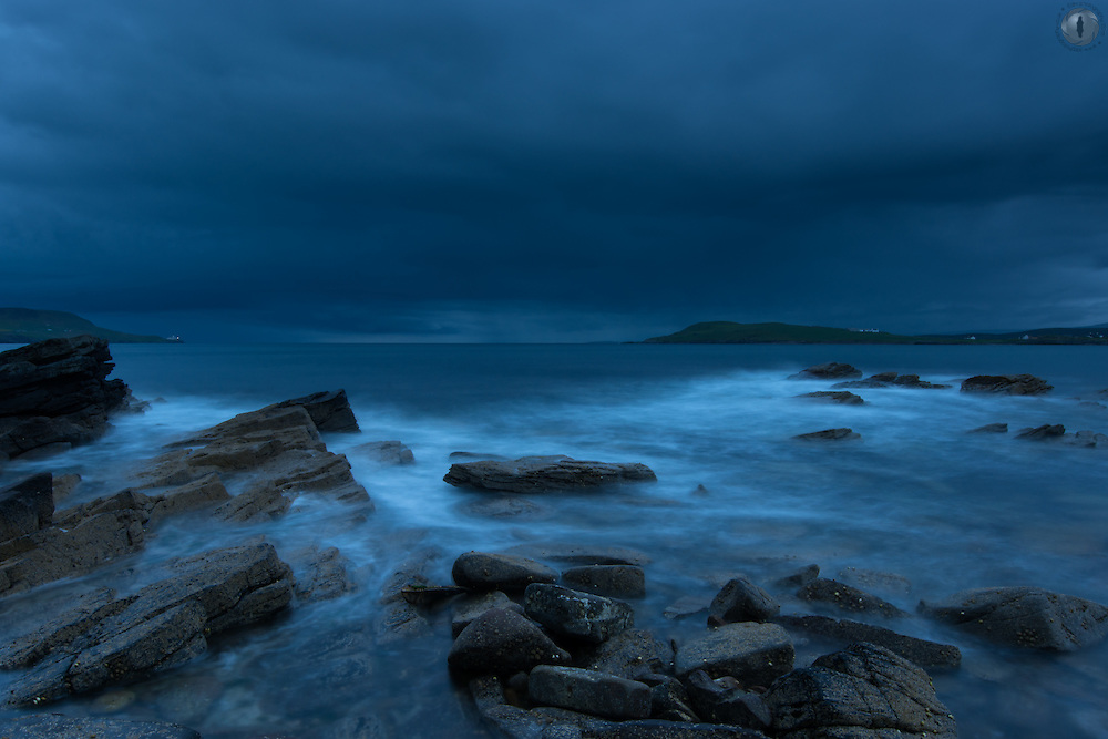 A storm approaching Lerwick, Shetland, at midnight