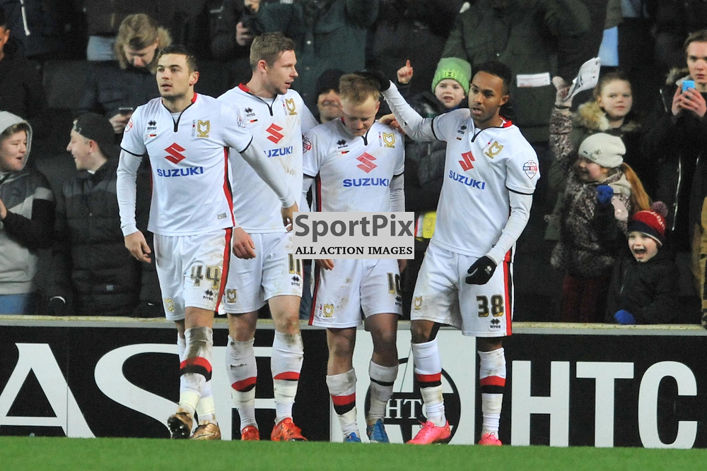 MK DONS BEN REEVES CELEBRATES AFTER SCORING DONS FIRST GOAL FROM THE PENALTY SPOT,  MK Dons v Northampton Town, FA Cup Emirates FA Cup Third round Repay, Stadium MK, Tuesday 19th January 2016