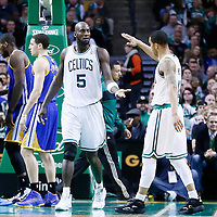 01 March 2013: Boston Celtics power forward Kevin Garnett (5) celebrates with Boston Celtics shooting guard Courtney Lee (11) during the Boston Celtics 94-86 victory over the Golden State Warriors at the TD Garden, Boston, Massachusetts, USA.