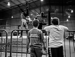 Fans Brayden Theodore, 7, and Gavin Carter, 9, watch the match during Old School Championship Wrestling Sunday, March 13, 2016 at the Hanahan Sports Complex. Paul Zoeller/Staff