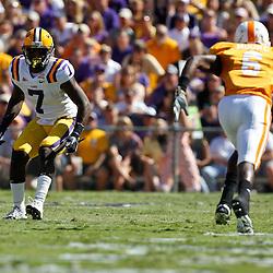 Oct 2, 2010; Baton Rouge, LA, USA; LSU Tigers cornerback Patrick Peterson (7) covers Tennessee Volunteers wide receiver Denarius Moore (6) during the first half at Tiger Stadium.  Mandatory Credit: Derick E. Hingle
