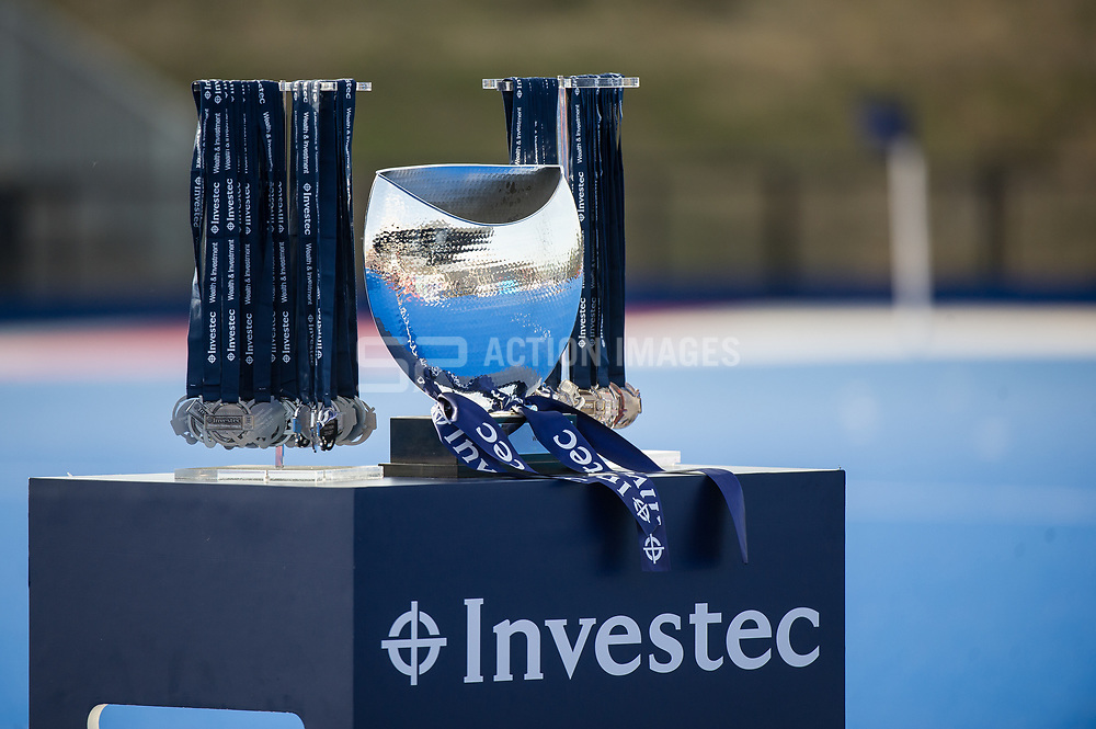 The Investec Women's Hockey League trophy and medals. Holcombe v Surbiton - Investec Women's Hockey League Final, Lee Valley Hockey & Tennis Centre, London, UK on 23 April 2017. Photo: Simon Parker