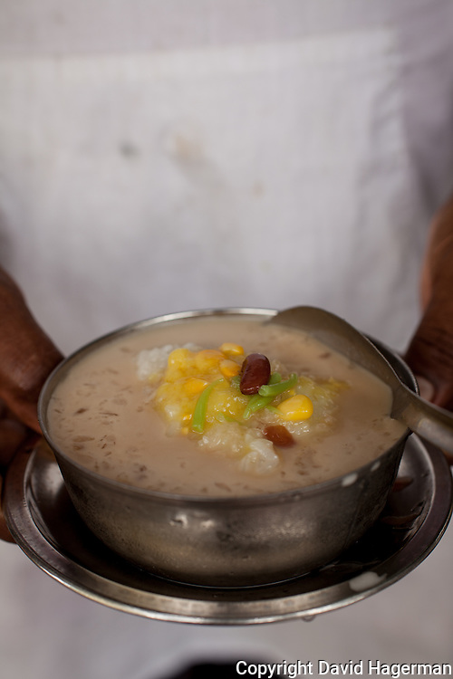 Cendol, a saved ice dessert served with beans, sweet corn and palm sugar.