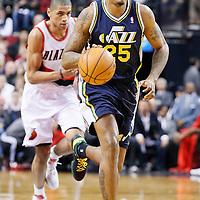 06 December 2013: Utah Jazz shooting guard Brandon Rush (25) brings the ball upcourt during the Portland Trail Blazers 130-98 victory over the Utah Jazz at the Moda Center, Portland, Oregon, USA.