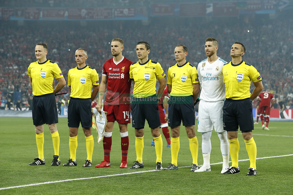 (L-R) additional assistant referee Danilo Grujic, assistant referee Dalibor Djurdjevic, Jordan Henderson of Liverpool FC, referee Milorad Mazic, assistant referee Milovan Ristic, Sergio Ramos of Real Madrid, additional assistant referee Nenad Djokic during the UEFA Champions League final between Real Madrid and Liverpool on May 26, 2018 at NSC Olimpiyskiy Stadium in Kyiv, Ukraine