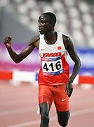 John Koech (BRN) celebrates after winning the steeplechase in 8:25.87 during the Asian Athletics Championships in Doha, Qatar, Saturday, April,21, 2019. (Jiro Mochizuki/Image of Sport)