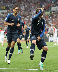 MOSCOW, July 15, 2018  Antoine Griezmann (R) of France celebrates scoring during the 2018 FIFA World Cup final match between France and Croatia in Moscow, Russia, July 15, 2018. (Credit Image: © Cao Can/Xinhua via ZUMA Wire)