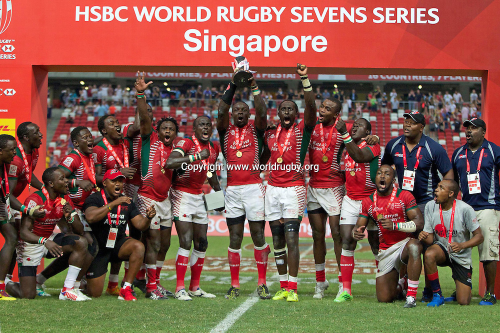 Kenya lift the cup in their first ever Cup Final win in Singapore.<br /> Day 2 - Round 9 of the HSBC Sevens Rugby World Series in Singapore, 16-17 April 2016. Photo credit: www.worldrugby.org