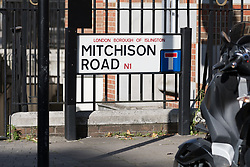 © Licensed to London News Pictures. 25/08/2017. LONDON, UK.  General view of Mitchison Road sign, off Essex Road in Islington. A 27 year old man was stabbed on Thursday evening and later died in hospital. Photo credit: Vickie Flores/LNP