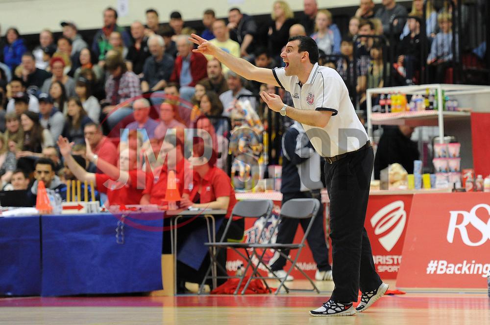 Bristol Flyers head coach, Andreas Kapoulas - Photo mandatory by-line: Dougie Allward/JMP - Mobile: 07966 386802 - 28/03/2015 - SPORT - Basketball - Bristol - SGS Wise Campus - Bristol Flyers v London Lions - British Basketball League