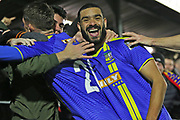Paul McCallum celebrates James Ball's goal that made it 3-0 during the The FA Cup match between Solihull Moors and Rotherham United at the Automated Technology Group Stadium, Solihull, United Kingdom on 2 December 2019.