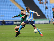 Romain Vincelot, Michael Rose during the Sky Bet League 1 match between Coventry City and Rochdale at the Ricoh Arena, Coventry, England on 5 March 2016. Photo by Daniel Youngs.
