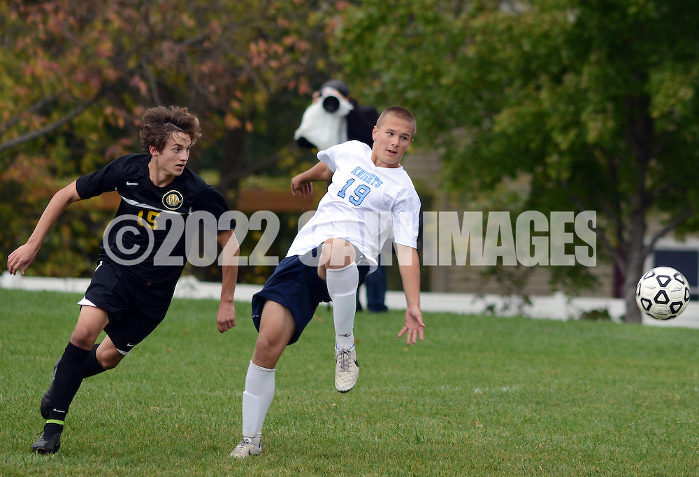TOWAMENCIN, PA - OCTOBER 7: Central Bucks West's Jack Tilley #15 and North Penn's Matthew Richardson #19 follow a loose ball in the first half at North Penn high school October 7, 2014 in Towamencin, Pennsylvania. (Photo by William Thomas Cain/Cain Images)