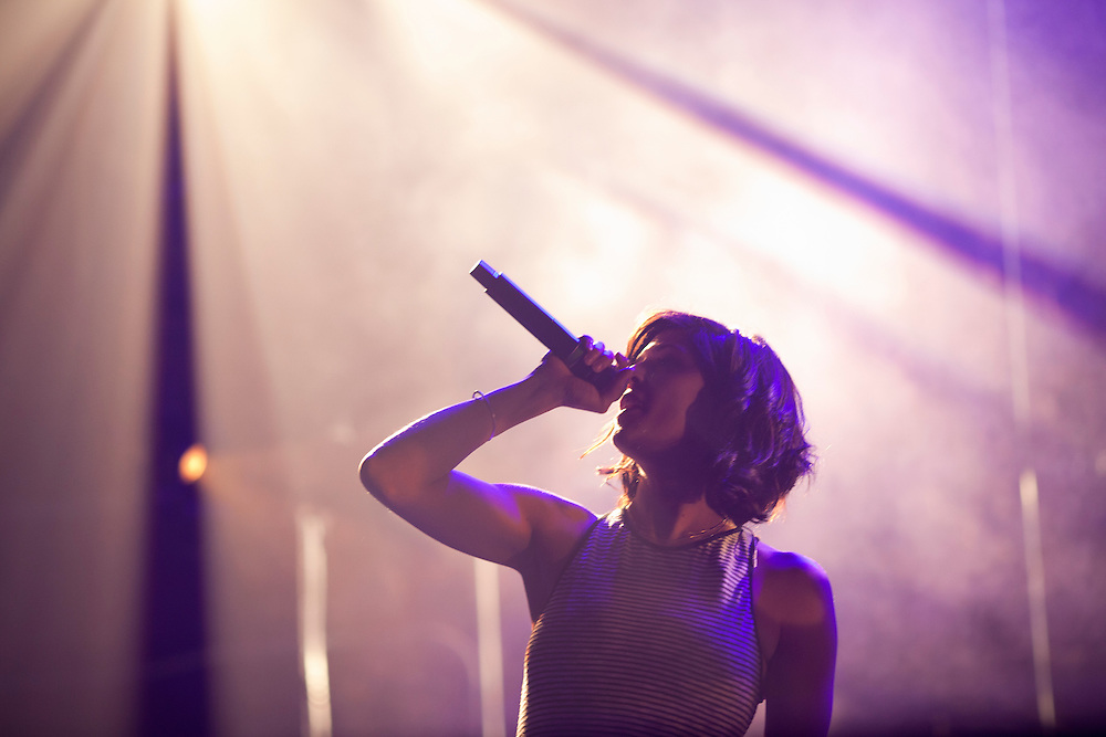 Minneapolis rapper Dessa performs with hip hop collective Doomtree at The Englert Theater in Iowa City, Iowa on Friday, November 6, 2015 during the first day of the Witching Hour Festival. The festival features performers, panel discussions, art installations and more.