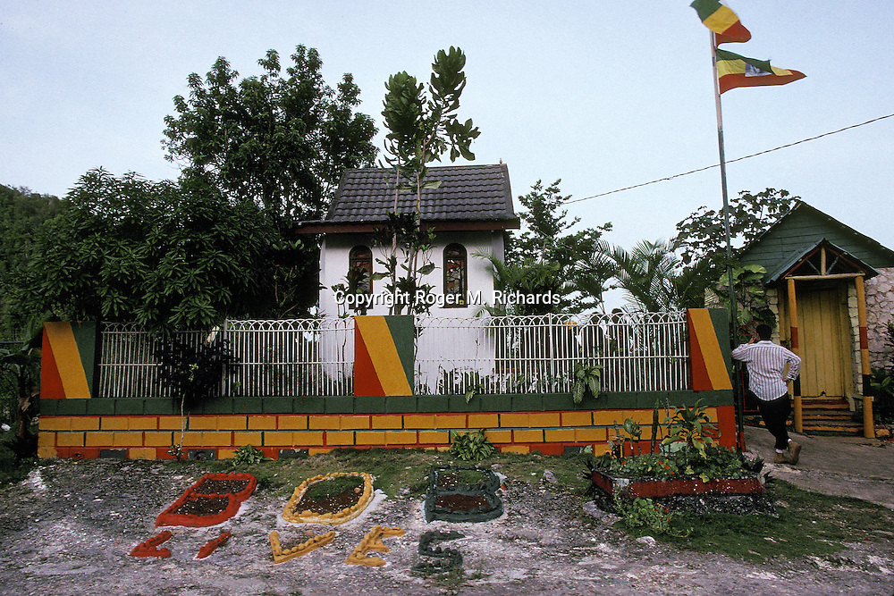 A view of the exterior of the compound housing the burial crypt of the late Reggae superstar Bob Marley, July 1991, in the valley of Nine Miles in St. Ann, Jamaica. Bob Marley died of cancer in a Miami hospital at the age of 36 on May 11, 1981. (Photo by Roger M. Richards)