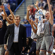 HARTFORD, CONNECTICUT- JANUARY 10 Head coach Geno Auriemma of the Connecticut Huskies on the sideline as the team celebrate a basket during the the UConn Huskies Vs USF Bulls, NCAA Women's Basketball game on January 10th, 2017 at the XL Center, Hartford, Connecticut. (Photo by Tim Clayton/Corbis via Getty Images)
