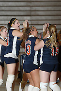 Middletown, N.Y. - SUNY Orange women's volleyball players celebrate their victory over Dutchess Community College on Oct. 11, 2007.