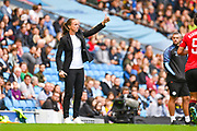 Casey Stoney of Manchester United Women (Manager) reacts during the FA Women's Super League match between Manchester City Women and Manchester United Women at the Sport City Academy Stadium, Manchester, United Kingdom on 7 September 2019.