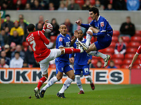 Photo: Richard Lane/Richard Lane Photography. Nottingham Forest v Birmingham City. Coca Cola Championship. 08/11/2008. James Perch (L) and Liam Ridgewell (R) toe to toe