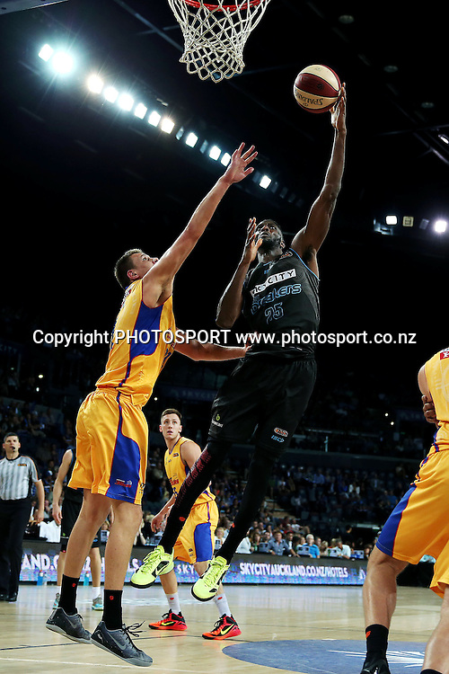 Ekene Ibekwe of the Breakers in action. 2014/15 ANBL, SkyCity Breakers vs Adelaide 36ers, Vector Arena, Auckland, New Zealand. Thursday 12 February 2015. Photo: Anthony Au-Yeung / www.photosport.co.nz