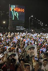 December 3, 2016 - Santiago De Cuba, CUB - Cubans at the Plaza Antonio Maceo during tribute ceremony for Fidel Castro, in Santiago de Cuba on Saturday, Dec. 3, 2016. (Credit Image: © Al Diaz/TNS via ZUMA Wire)