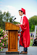 Class President Tony Shu addresses classmates during the 148th Graduation exercises at Wellesley High School on June, 2, 2017.   [Wicked Local Photo/James Jesson]