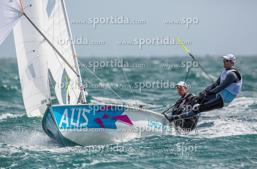 02.08.2012, Bucht von Weymouth, GBR, Olympia 2012, Segeln, im Bild Belcher Mathew, Page Malcolm, (AUS, 470 Men) // during Sailing, at the 2012 Summer Olympics at Bay of Weymouth, United Kingdom on 2012/08/02. EXPA Pictures © 2012, PhotoCredit: EXPA/ Daniel Forster ***** ATTENTION for AUT, CRO, GER, FIN, NOR, NED, POL, SLO and SWE ONLY!