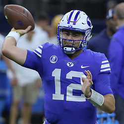 Sep 2, 2017; New Orleans, LA, USA; Brigham Young Cougars quarterback Tanner Mangum (12) warms up before the AdvoCare Texas Kickoff game against the LSU Tigers at the Mercedes-Benz Superdome. Mandatory Credit: Derick E. Hingle-USA TODAY Sports