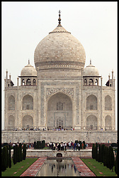 General View of the Taj Mahal in Agra in India, the Taj is It is one of the most recognizable structures in the world. It was built by Mughal emperor Shah Jahan in memory of his third wife. Taj Mahal is the finest example of Mughal architecture, a style that combines elements from Persian, Islamic and Indian architectural style. Photo By Andrew Parsons/ i-Images