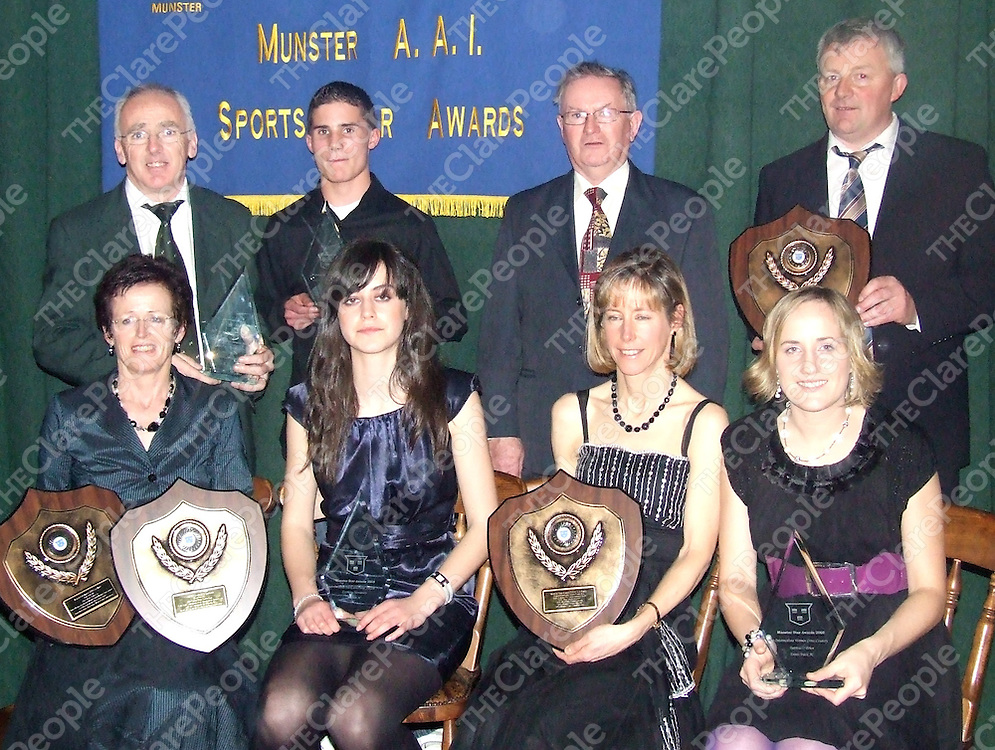 Clare's Munster Sports Star Award winners: Front row (from left) - Noreen Courtney, Catriona Hennessy, Michelle O'Mahoney and Patricia O Brien. Back (from let) - James Sexton, Issac Rae, Michael Lillis and Vincent Mc Carthy.