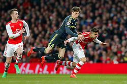 Adam Reach of Middlesbrough is fouled by Gabriel Paulista of Arsenal - Photo mandatory by-line: Rogan Thomson/JMP - 07966 386802 - 15/02/2015 - SPORT - FOOTBALL - London, England - Emirates Stadium - Arsenal v Middlesbrough - FA Cup Fifth Round Proper.