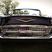 """""""57 Chevy""""<br /> <br /> All you Chevy lovers out there. Take a look at this full on front view of a classic 1957 Chevy!!<br /> <br /> Cars and their Details by Rachel Cohen"""