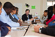 Frank Bisignano, CAO at JPMorgan Chase, visited with students at Bushwick Leaders High School with Principal Catherine Reilly.