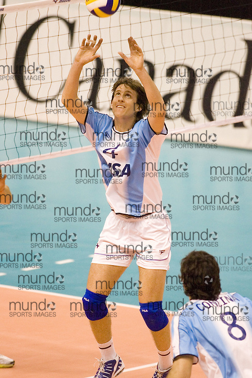 Nicolas Efron of  Argentina during a three games to none defeat by Canada in the 2006 Anton Furlani Volleyball Cup, held in Ottawa, Canada. .Anton Furlani Cup.Copyright Sean Burges / Mundo Sport Images, 2006