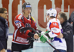 Best players Matthias Iberer of Austria and Ales Music of Slovenia after the Friendly Ice-hockey match between National teams of Slovenia and Austria on April 19, 2013 in Ice Arena Tabor, Maribor, Slovenia.  Slovenia defeated Austria 5-2. (Photo By Vid Ponikvar / Sportida)
